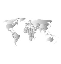 grey political map of world each state with own vector image vector image