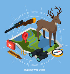 hunting isometric concept vector image vector image