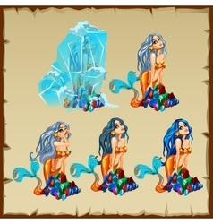 Mermaid in the ice and it thawing stages vector image