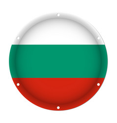 round metallic flag of bulgaria with screw holes vector image