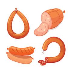 set of cartoon sausage bacon sliced vector image vector image