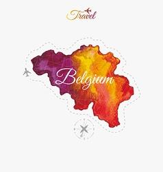 Travel around the world Belgium Watercolor map vector image