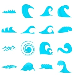 Waves icons set flat style vector image vector image