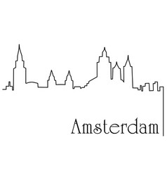 amsterdam city one line drawing background vector image vector image