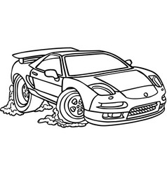 black and white of car on white vector image
