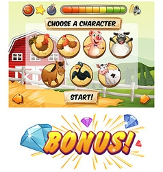 Game template with farm animal characters vector image