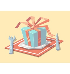 Gift on the plate vector image vector image