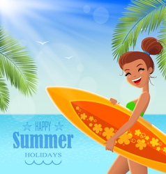 Summer poster with text badge vector image