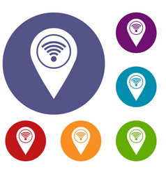 map pin pointer with wi fi symbol icons set vector image