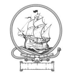 sailing ship engraving vector image