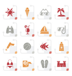 stylized tropic beaches and summer icons vector image vector image