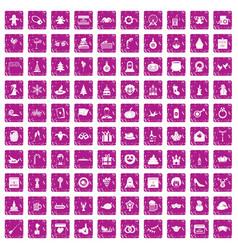 100 holidays icons set grunge pink vector image