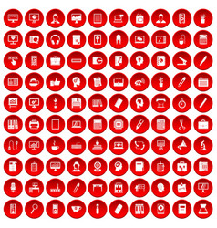 100 work space icons set red vector