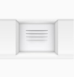 3d empty white shop shelf on wall vector image