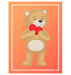 Adorable teddy gently holds heart head lovely bear vector