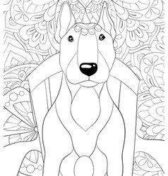 adult coloring bookpage a cute dog on chair vector image