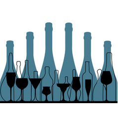 Alcoholic bar menu blue vector