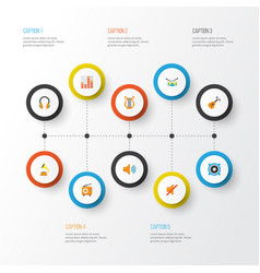 Audio flat icons set collection of audio vector