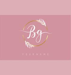 Bg b g letters logo design with golden circle vector