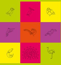 birds set icon vector image