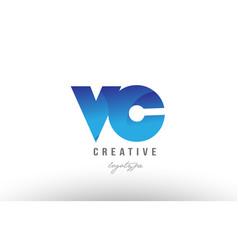 Blue gradient vc v c alphabet letter logo vector
