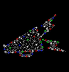 Bright mesh network alert megaphone with light vector