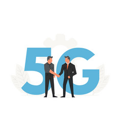 businessmen make a contract before big letters 5g vector image