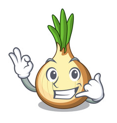 Call me fresh yellow onion isolated on mascot vector