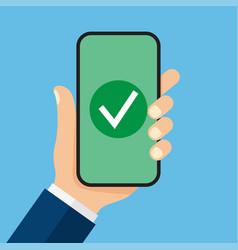 checkmark on smartphone screen vector image