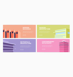 collection of horizontal web banners modern vector image
