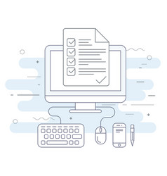computer with checklist agenda or day plan vector image