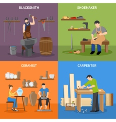Craftsman Flat 2x2 Icons Set vector