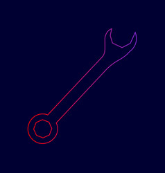 crossed wrenches sign line icon with vector image
