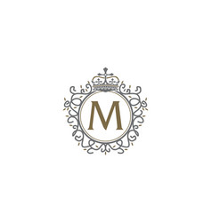 Crown leaf logo initial m vector
