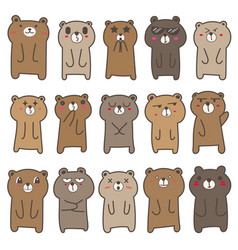 Cute bear character design set vector
