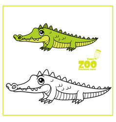 cute cartoon little green crocodile color and vector image