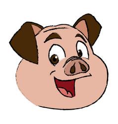 Cute pig face funny piggy smiling vector