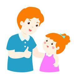 dad admire daughter character cartoon vector image