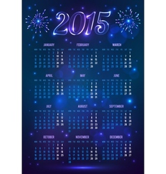 dark blue 2015 year european calendar in magic vector image