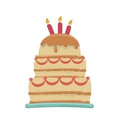 Delicious sweet cake birthday vector