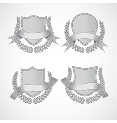 Design elements set of shields with Laurel vector image
