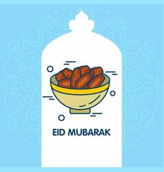 eid mubarak background greeting card calligraphy vector image