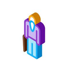 Elder man stick isometric icon vector