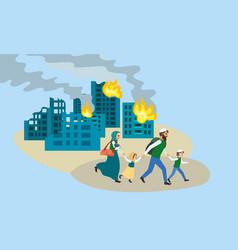 Family run away destroyed city concept banner vector