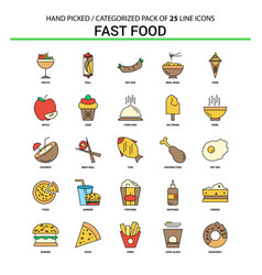fast food flat line icon set - business concept vector image