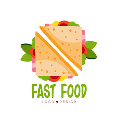 Fast food logo design badge with sandwich sign vector