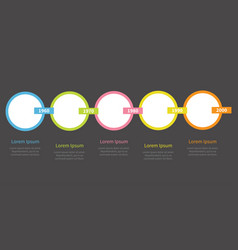 five step timeline infographic colorful circles vector image