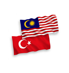 Flags turkey and malaysia on a white background vector
