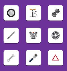 flat icon workshop set of wheel pump spanner vector image