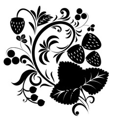 floral ornament with strawberries silhouettes vector image